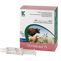 Пеникан П шприц-инжектор для лечения острых маститов у лактирующих коров, овец и коз 10 г *20шт