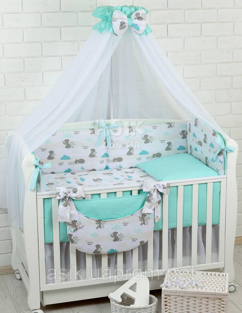 Комплект постельного белья Asik Мама-мишка и мятные облака 8 предметов (8-300)