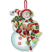Набор для вышивки крестиком DIMENSIONS Snowman with Sweets Ornament Снеговик со сладостями