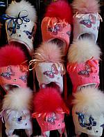 Детские зимние шапки Бабочка для девочек 1-3 года опт и розница- S243