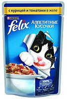 Felix Fantastic консервы для кошек с курицей и томатами в желе 100 гр*20шт