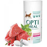 Optimeal сухий корм для дорослих котів телятина 0,65 КГ
