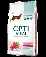 Optimeal (Оптимил) сухой корм для взрослых котов с телятиной 10КГ
