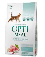 Optimeal cухой корм для стерилизованных котов, с индейкой и овсом 4КГ