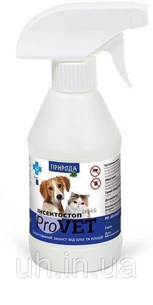 Природа Инсектостоп ProVet спрей для обробки тварин проти ектопаразитів для собак і котів 250мл