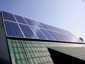 Солнечные панели на южном скате дома.