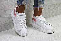 Кеды женские  Alexander McQueen ,белые  с розовым. ТОП качество!!! Реплика, фото 1
