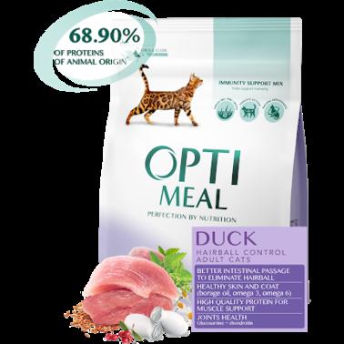 Полнорационный сухой корм Optimeal для взрослых кошек с эффектом выведения шерсти -утка, 300 г