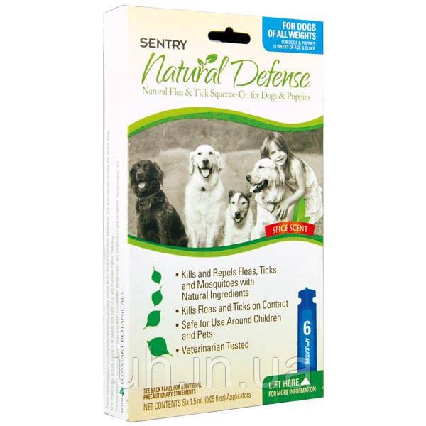 Sentry Natural Defense  капли от блох и клещей для собак и щенков