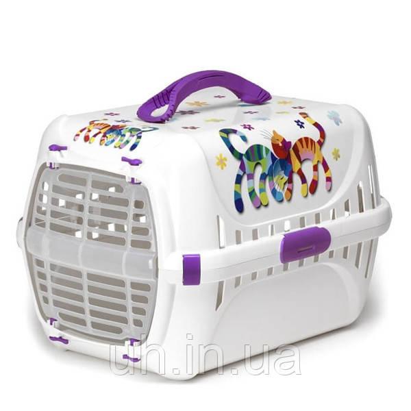 Moderna Trendy Runner Friends Forever перенесення для кішок c пластикової дверцятами, фіолетовий, дизайн Друзі Навіки, 51х31х34см