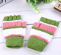 Митенки (перчатки без пальцев) универсальные зеленые