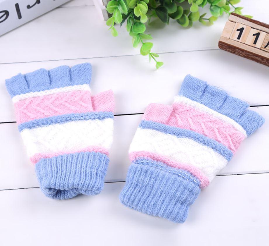 Митенки (перчатки без пальцев) универсальные голубые