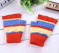 Митенки (перчатки без пальцев) универсальные красные
