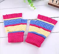 Митенки (перчатки без пальцев) универсальные розовые
