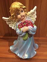 Статуэтка Ангел  девочка с цветами большая голубого цвета