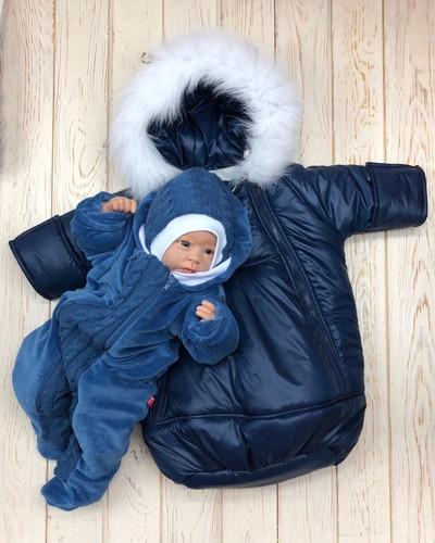 """Зимний комплект одежды для новорожденных, """"Космонавт+Weave"""" синий"""