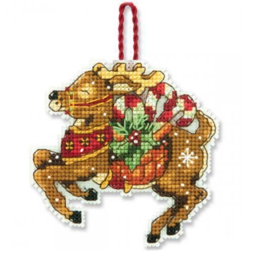 Набір для вишивки хрестом Dimensions Різдвяна прикраса Північний олень Reindeer Ornament