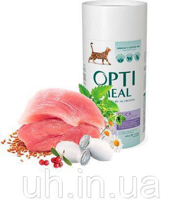 Optimeal сухой корм для взрослых котов выведение шерсти с уткой 0,65КГ