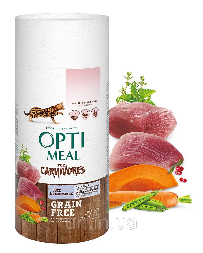 Optimeal  беззерновой сухой корм для кошек с уткой и овощами 0,65КГ