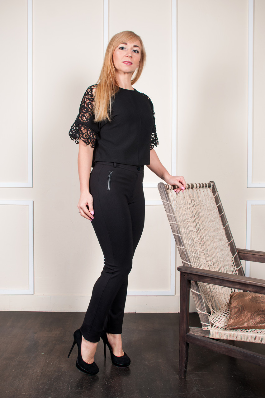 Теплые брюки Аманда чёрные