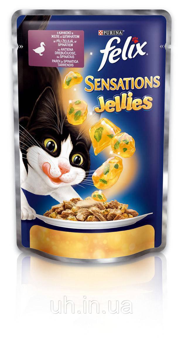 Felix Sensations консервы для кошек с уткой и шпинатом 100 гр