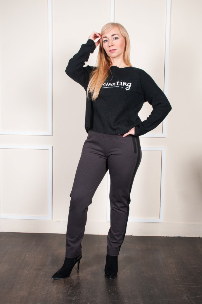 Женские укороченые брюки Тина серо-коричневые