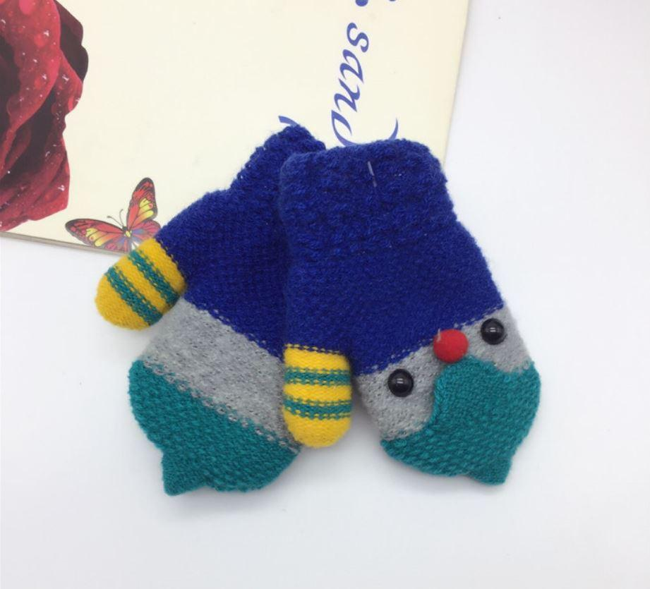 """Варежки на плюше """"Пингвинята"""" зимние синие"""