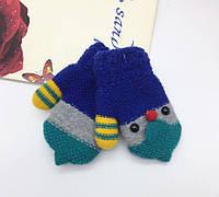"""Варежки на плюше """"Пингвинята"""" зимние синие, фото 1"""