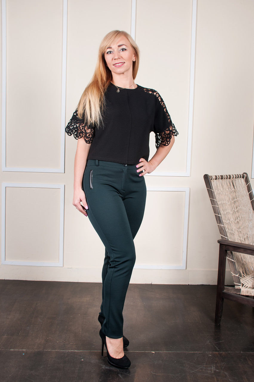 Теплые брюки Аманда зелёные