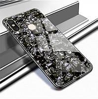 Чехол Marble для Xiaomi Mi 8 бампер мраморный оригинальный Черный
