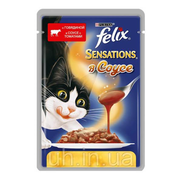 Felix Sensations консервы для кошек кусочки в соусе с говядиной и томатами 100 гр*20шт