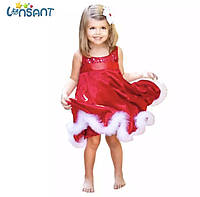 Детское новогоднее красное платье