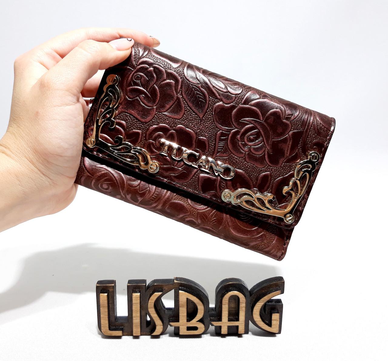 9ff204343827 Женский маленький темно-бордовый кошелек с тиснением Розы повседневного  дизайна - Интернет магазин Lisbag в