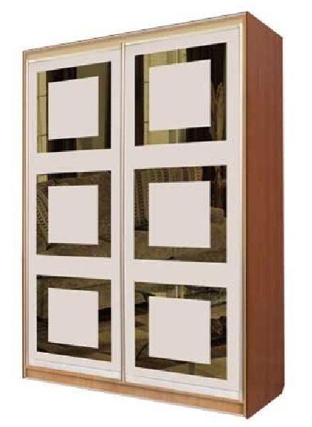 Шкаф-купе двухдверный тонированные зеркала + пескоструй + цветные стекла