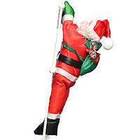 Новогодняя фигура Санта на лестнице, декоративный Дед Мороз 90 см