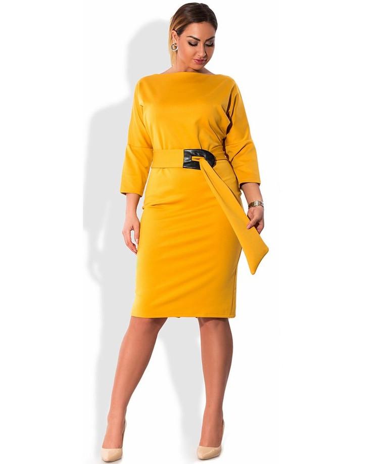 Красивое платье миди горчичного цвета размеры от XL ПБ-726