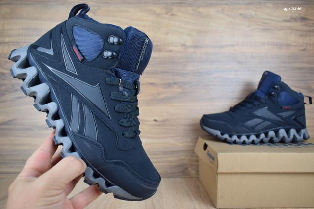 Зимние мужские кроссовки (ботинки) Reebok zigwild синие на меху ... 8afb25db9e8