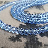 """Хрустальная бусина, """"рондель"""", светло голубая, 3х4 мм"""