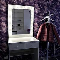 Стол для визажиста с зеркалом, гримерный комплект 800×570×900 мм.Зеркала с лампами. Мебель в салон.