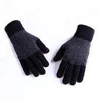 Зимові трикотажні чоловічі рукавички в смужку чорні опт