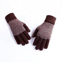 Теплі зимові чоловічі рукавички коричневі опт