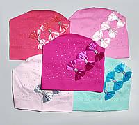 """Демисезонная  шапка для девочек """"Три банта"""""""