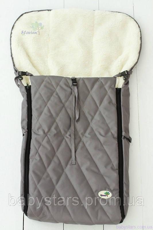 Зимний конверт для санок и коляски, серый