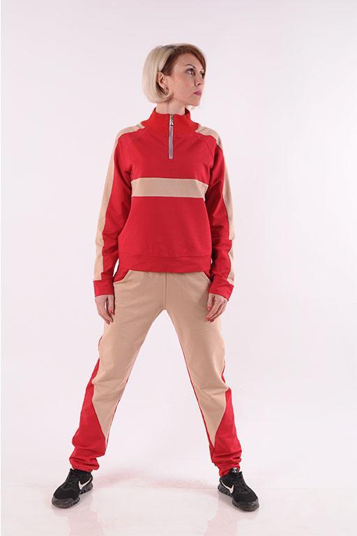 Женский спортивный костюм красный Stylish fashion размеры 40-46