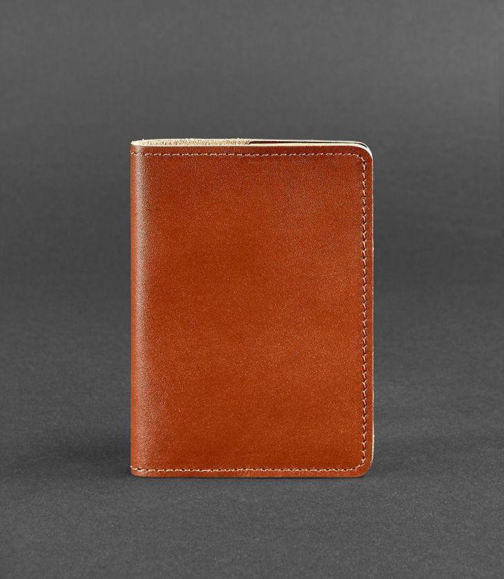 Обложка для паспорта кожаная коньяк (ручная работа) BN-OP-1-2-k