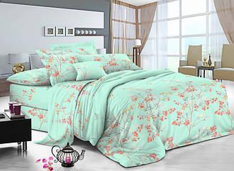 Семейный комплект постельного белья 150*220 из сатина Нежность бирюза