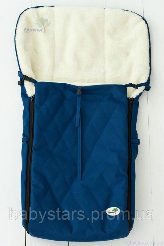Детский конверт на овчине в санки и коляску, темно-синий