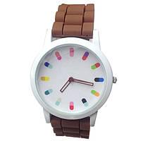 Женские наручные часы с силиконовым ремешком - коричневые