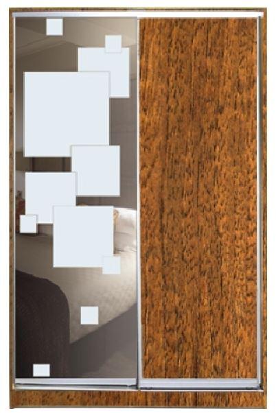 Шкаф-купе двухдверный ДСП + зеркало + пескоструй на 1 двери