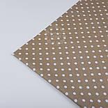 Отрез ткани №86 с белым  горошком среднего размера на коричневом фоне, фото 2